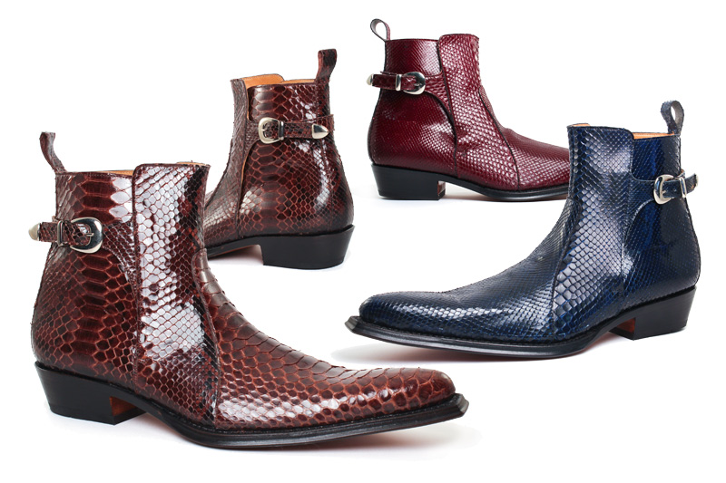 Boots with high heel for men | ABBESSES Python brown | Python blue | Python burgundy