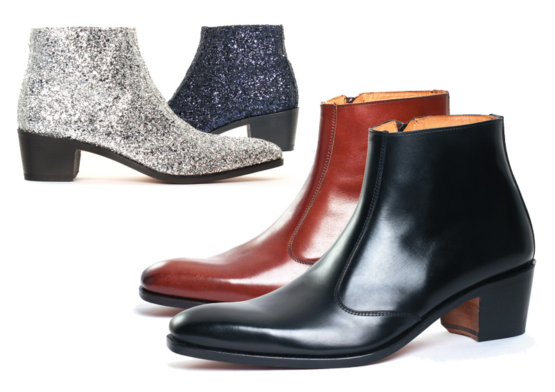 Boots with high heel for men | OPÉRA Calf noir | Satin setter | Glitter Argent | Glitter Navy