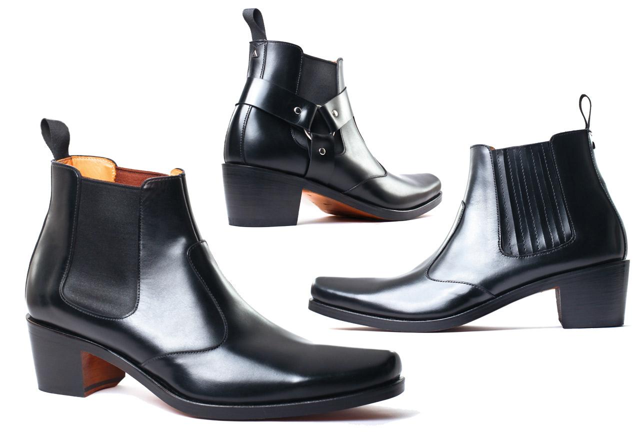 Boots with high heel for men | PIGALLE Calf noir - Harnais Triangle | Calf noir