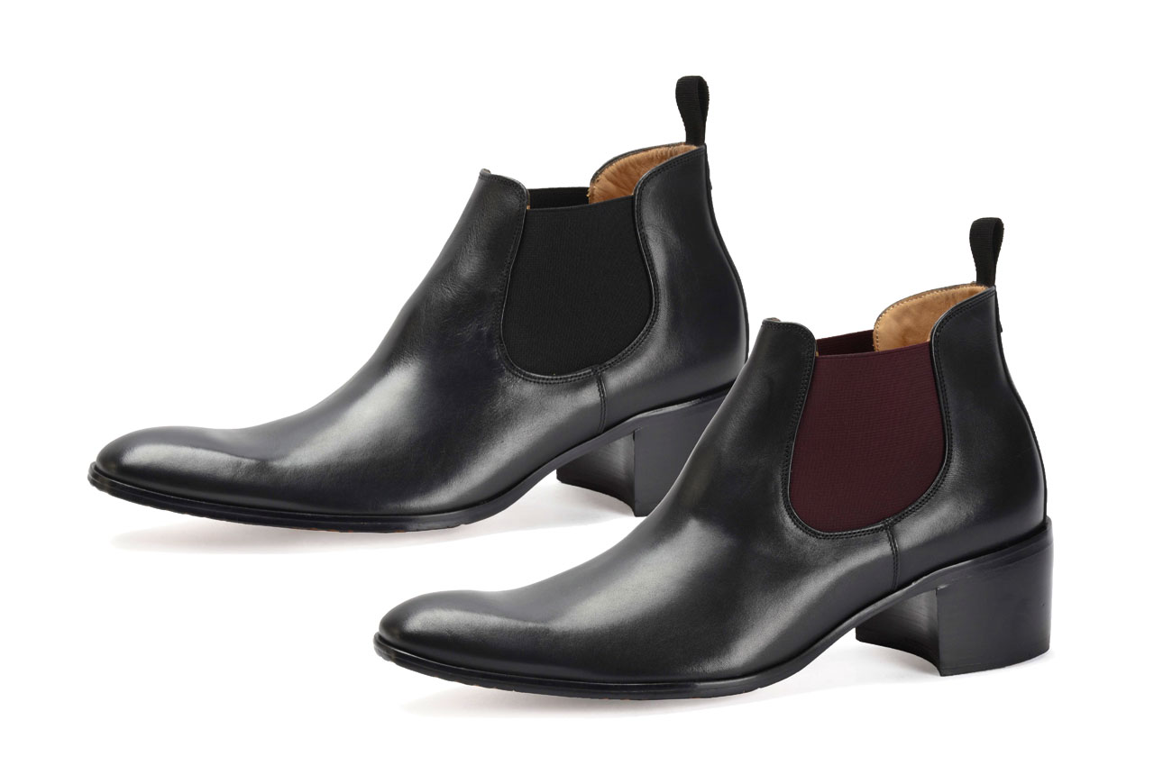 Boots with high heel for men | SAINT GERMAIN black nappa - black elastic | black nappa - burgundy elastic