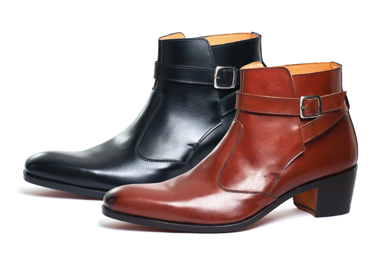 Boots with high heel for men | VINCENNES black nappa | satin setter