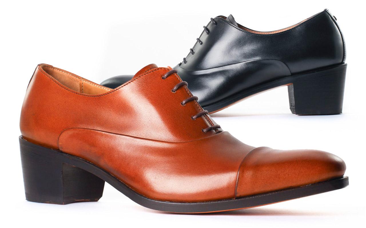 Chaussures à talon haut pour homme | DROUOT Satin Libano | Calf Noir