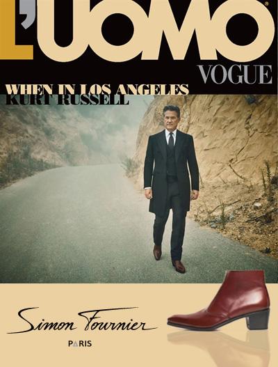 Couverture de L'UOMO VOGUE : Kurt Russell avec des boots à talon haut pour homme