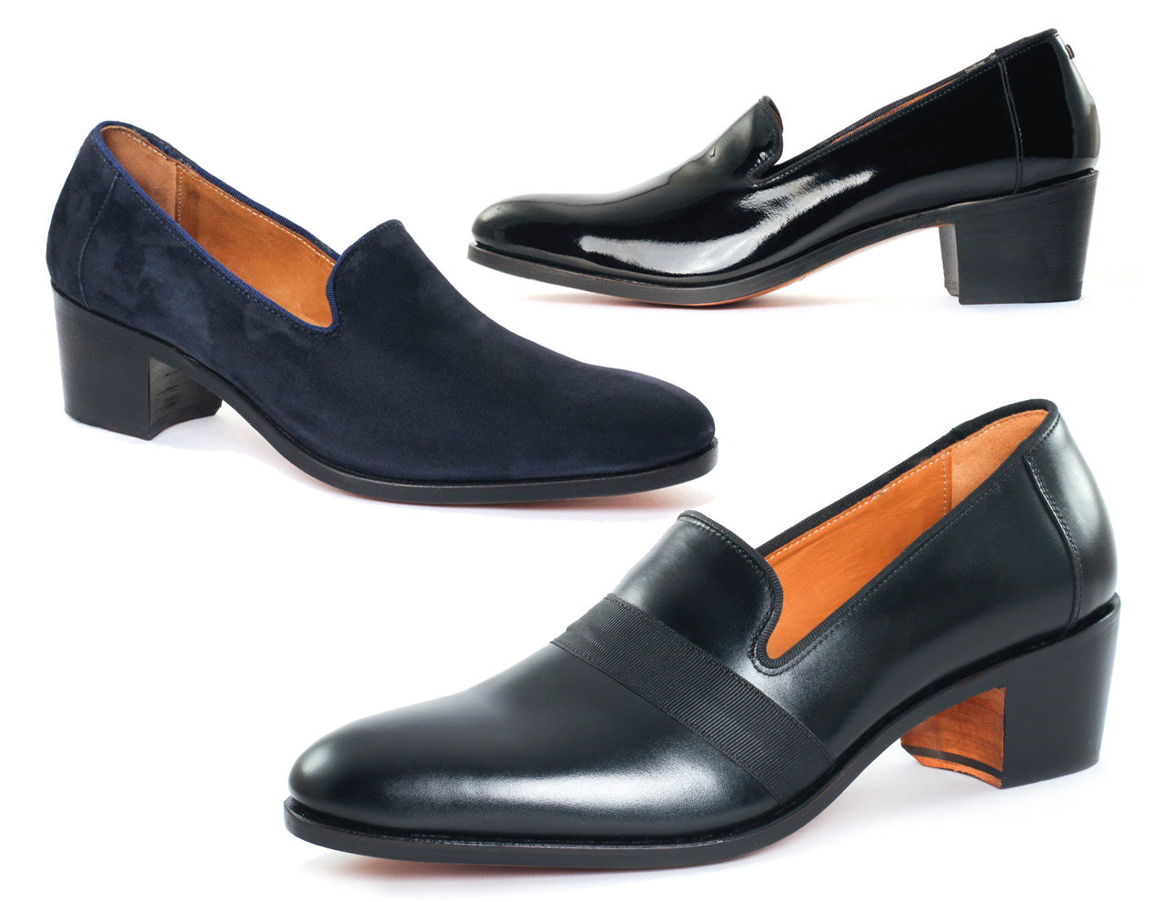 Shoes with high heel for men | LE NÔTRE Royal Navy | Black Patent | Calf Black