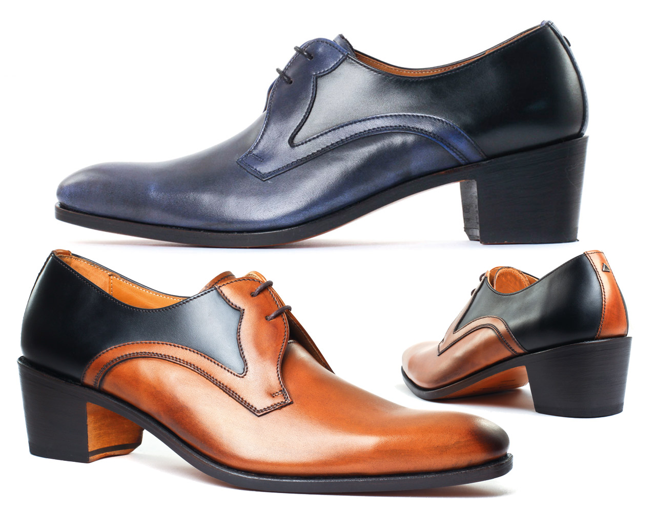 Shoes with high heel for men | LOUVRE Satin miel - calf noir | Wax Bleue